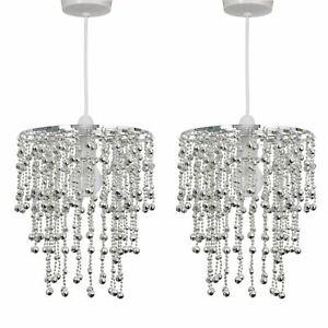 Set of 2 Modern Chrome Beaded Easy Fit Ceiling Light Shade Pendant Chandeliers