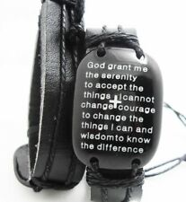 Genuine Leather Bracelet Cartouche & Inspirational Serenity Prayer and Cross
