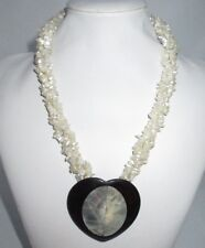 Abalone Shell Statement Necklace Beaded Layered Imitation Pearl Cluster Vintage
