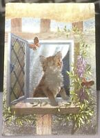 Postcard Animal Kitten at the Window - posted