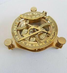Brass Sundial Compass Clock West London Sun Maritime Vintage Sailor Gift