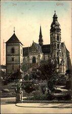Košice Kaschau Kassa Slowakei früher Ungarn Color AK 1917 gelaufen Partie am Dom