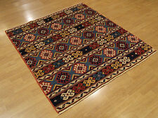 4 x 4.4 Hand knotted Vegetable Dyes Hand Spun Wool Afghan Caucasian Square Rug