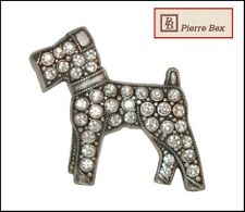 VINTAGE FRENCH PIERRE BEX SILVER RHINESTONE AIREDALE TERRIER DOG PIN BROOCH