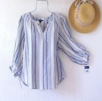 New~$60~Blue & White Peasant Blouse Shirt Boho Textured Cotton Top~Size Medium M