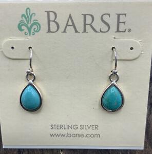 Barse Turquoise Teardrop Earrings- Sterling Silver- NWT