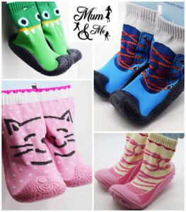 Kids Baby Girls Boys Thermal Slipper Socks Toddler Non Slip Home Rubber Sole