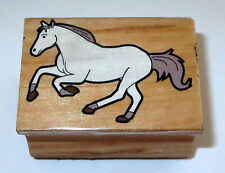 Horse Running Rubber Stamp Grass Wood Mounted Farm Animals Horses Gallop Trot #2