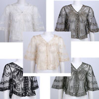 Women Lace Embroidery Shrug Bolero Jacket Cardigan Blouse Top for Evening Party