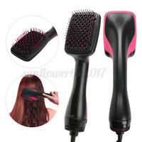 Salon Beauty 2 in 1 1000W Smoothing Hair Dryer & Paddle Brush Hair Styler Comb ^
