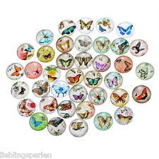 30 Mix Charm Schmetterling Rund Glascabochons Klebeperlen Klebesteine 12mm