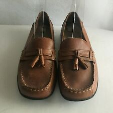 """Faded Glory Cushion Soles Flats Loafers Ladies 8 Wide Insole 10"""" Insole Brown"""
