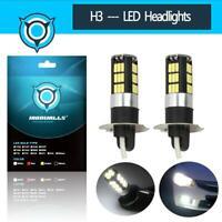 Pair H3 COB LED Headlight Conversion Kit Bulbs Driving DRL FOG Lights Lamp 6000K