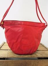 BRIO Vintage 1980s Strawberry Red Leather Round Bucket Shoulder Bag Hobo Purse