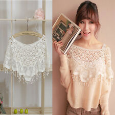 Hollow Out Lace Cutout Women Lady Crochet Cape Collar Batwing Sleeve Tops