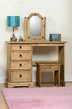Corona Distressed Waxed Pine Wooden Dressing Table, Stool and Mirror