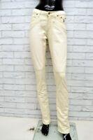 Pantalone JECKERSON Donna Taglia Size 28 Jeans Pants Woman Cotone Beige Regular