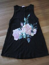 LADIES CUTE BLACK FLORAL COTTON LONG SLEEVELESS TOP BY SUPRE SIZE XS - 10/12