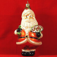 Jolly Santa Claus Blown Glass Xmas Tree Ornament Cute Holiday Decor Glitter 5""