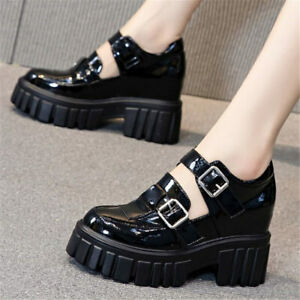 Oxfords Women Patent Leather Platform Wedge Ankle Boots Buckle Strap High Heels
