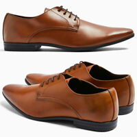 EX STORE Mens Casual Formal Smart Brown Tan Derby Shoes Size 7 8 9 10 11