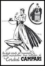 PUBBLICITA'1955 CORDIAL CAMPARI MILANO DRINK COCTAIL BAR LIQUORE BOTTIGLIA MANCA