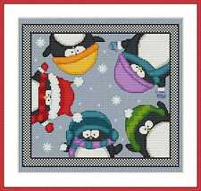 Cross-Stitch Embroidery Color PATTERN with DMC codes - Cute Christmas Penguins