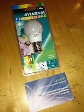 Lampada faretto lampadina LED E27 1.0W 7 COLORI SYLVANIA-25000H-MINI GLOBO SFERA