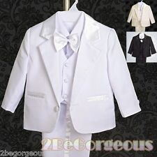 5pcs Set Formal Suit Outfit Christening Wedding Page Boy Black Age 9m-3y ST022A