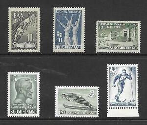 FINLAND MNH STAMP LOT SCOTT #265, 266, 278, 289, 354 - 355 1947 - 1958
