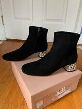 NIB $1100 Miu Miu size 7 black suede ankle boots rhinestones on heel
