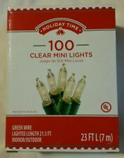 100Pk Holiday Time Clear Mini Light Green Wire Indoor Outdoor 23 Ft Long