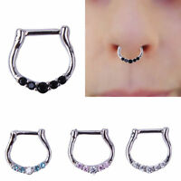 1pc Five-Gem Septum Clicker 316L Surgical Steel Nose Ring Body Piercing Hoop