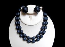 Vintage Japanned Wood and Crystal Bead Double Strand Necklace and Earring Set