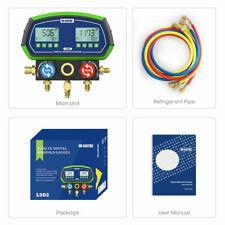 Intelligent Digital Manifold Kit 4 Valves Refrigeration Pressure Gauge Vacuum