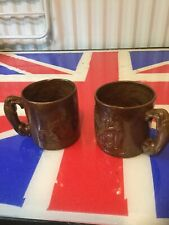 Pearsons of Chesterfield Pottery Brown Mugs Matching Pair Free Uk P&P