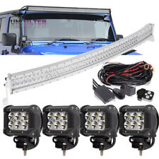 "50"" 52"" +4""LED Light bar+ small Brackets + Wire Fit For Jeep Wrangler JK 07~17"