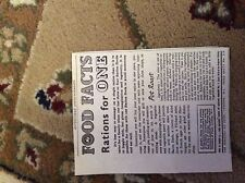 M9-8 Ephemera Ww2 Picture 1944 july advert food facts rations for one