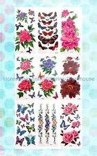 6 sheets large flower rose butterfly temporary tattoo temporary tatoos