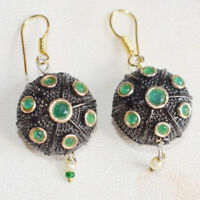 Green Emerald With Pearl Victorian Style Earring 4 Cm Brass Plated
