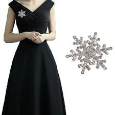 Charm Xmas Gift Snowflake Brooch Diamante Rhinestone Crystal Pearl Broach Pin