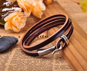 G234 Dark Brown Cool Hook Clasp Chic Multi-Wrap Leather Bracelet Cuff Men's NEW