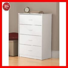 4 Drawer Chest Of Wood Drawers Dresser Office Storage White Bedroom Furniture