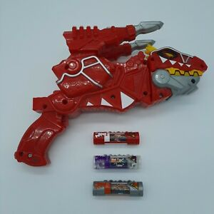 Power Rangers Dino Super Charge Red T-Rex Morpher Gun #1 + 3 Chargers Cartridges