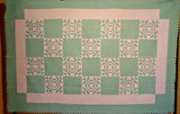 FABULOUS PASTEL MINT GREEN AND WHITE YOUNG MANS FANCY QUILT 1930s  A+ QUILTING
