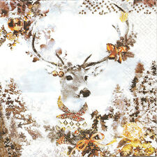 4 Single Paper Table Napkins for Decoupage Dressed Deer Christmas Winter