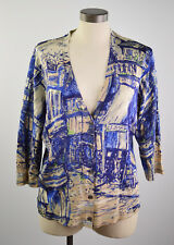 Jones New York Collection Women's XL Buttons Up blouse Plunge V Neck Royal Blue