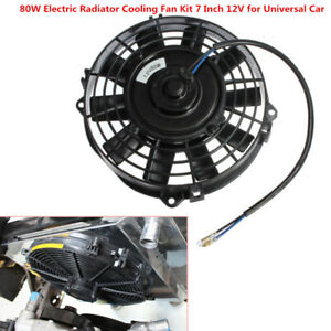 "7"" inch 12V 80W Universal Car Electric Radiator Slim Fan Push Pull w/ Mount Kit"