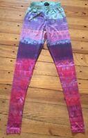 XS Wet Seal Shiny Print Junior Women's Leggings Teal Purple Pink