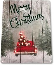 TIN SIGN PGB837 Merry Christmas Truck Art Holiday Decoration Metal Decor